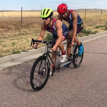 "Guiding my 6'5"" visually-impaired athlete at the Olympic Training Center in Colorado Springs during the USA Triathlon VI Para-Athlete Camp."