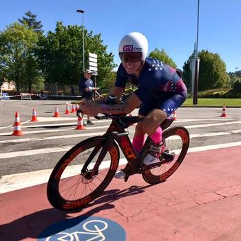 Racing at the 2019 ITU Long Distance Triathlon World Championships in Pontevedra, Spain on May 4th, 2019.