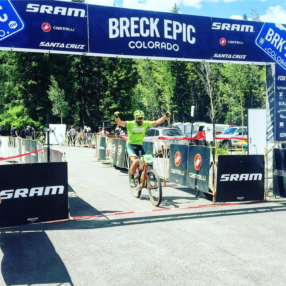 The most satisfied I've ever been on a bike. Crossing the line as the winner of the Clyde cat at Breck Epic.