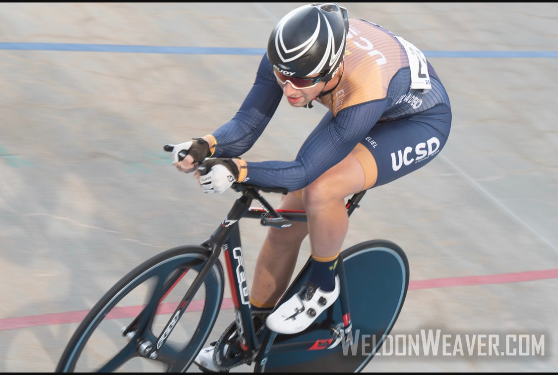 Photo taken of me racing Individual Pursuit at USAC Collegiate Track Nationals 2019 at Giordana Velodrome