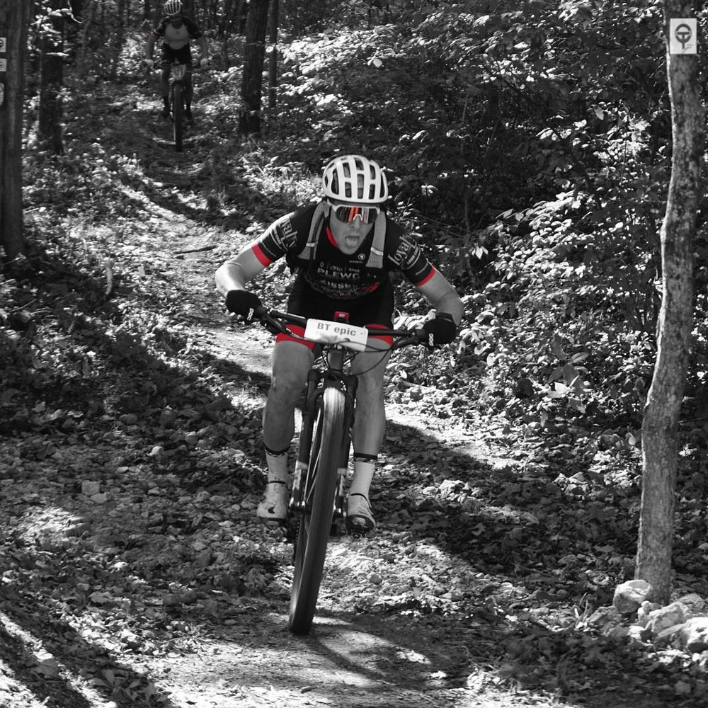 Coming out of the woods to finish my first MTB race. This was BT Epic in Steelville, MO a 50-mile MTB race though some very rocky and rooty single track. It was only my 5th time ever on a MTB, and for a roadie I was happy with how I rode.