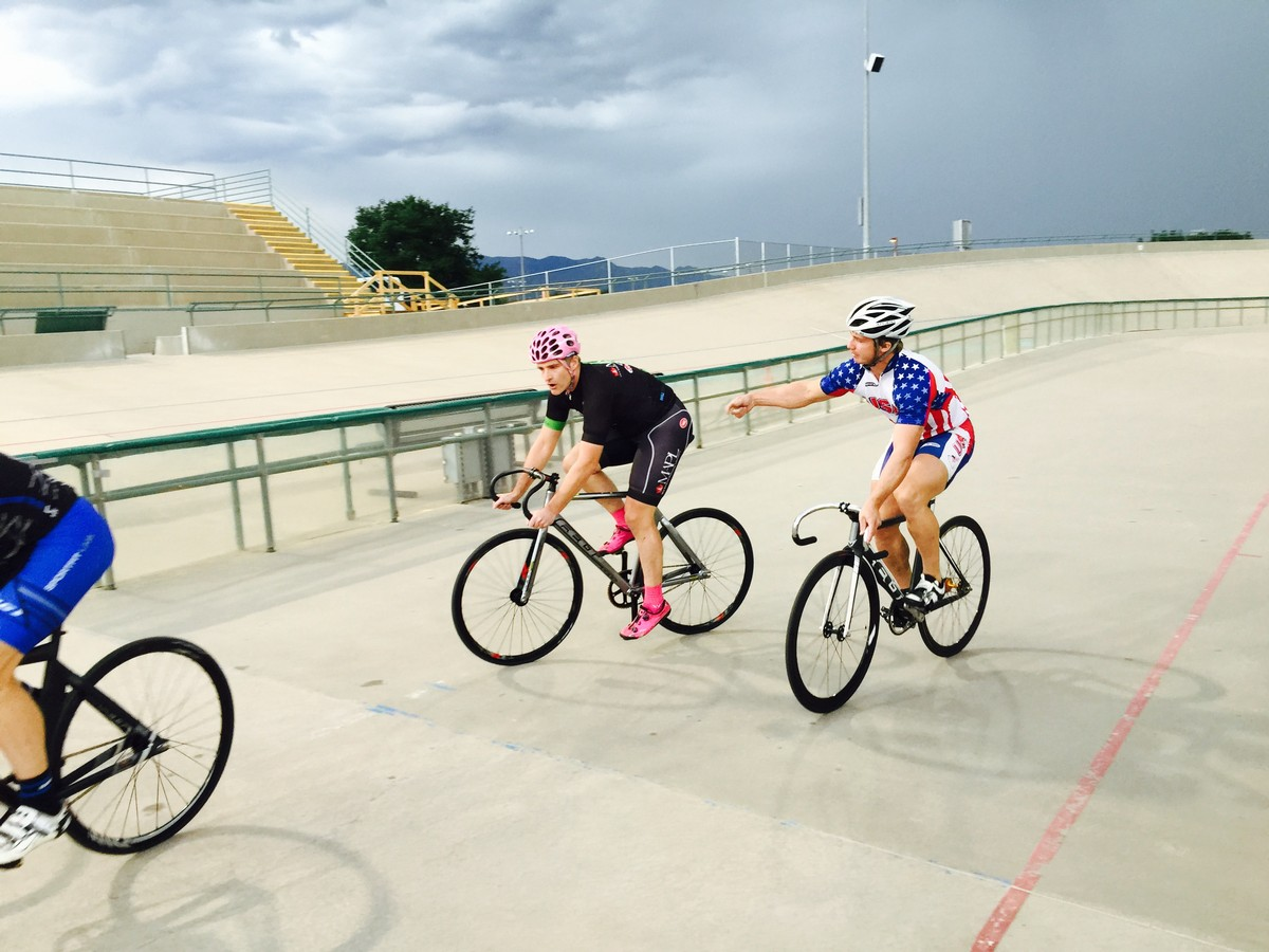 Colorado Springs Velodrome.  Note the thigh discrepancy with the Olympic Development Rider!