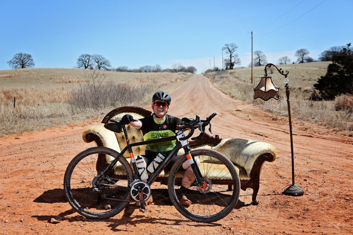 At the Salsa Cycles Chase the Chaise during Land Run 100 - 2019.