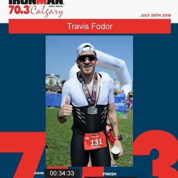 Finisher photo at Ironman Calgary 70.3